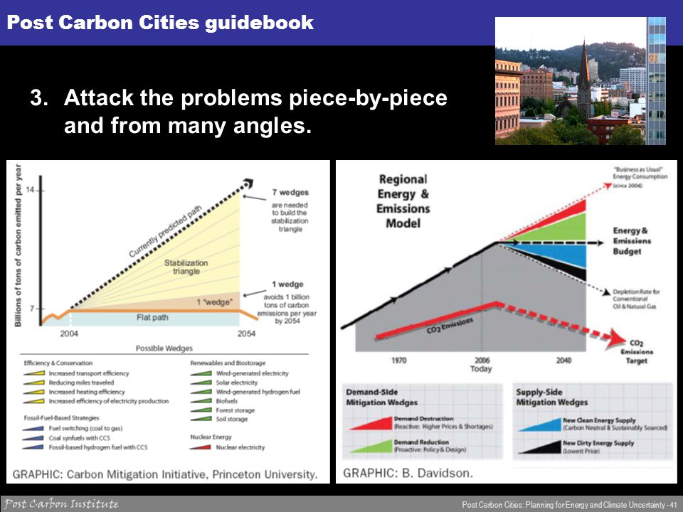 ENERGY Post Carbon Cities: Planning for Energy and Climate Uncertainty - 41 Post Carbon Cities guidebook 3.Attack the problems piece-by-piece and from many angles.
