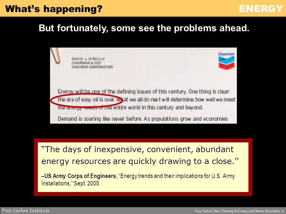 ENERGY Post Carbon Cities: Planning for Energy and Climate Uncertainty - 7 What's happening.