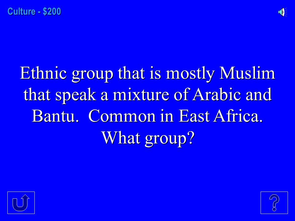 Culture - $100 People of this ethnic group speak Arabic and most (but not all) practice Islam-What group