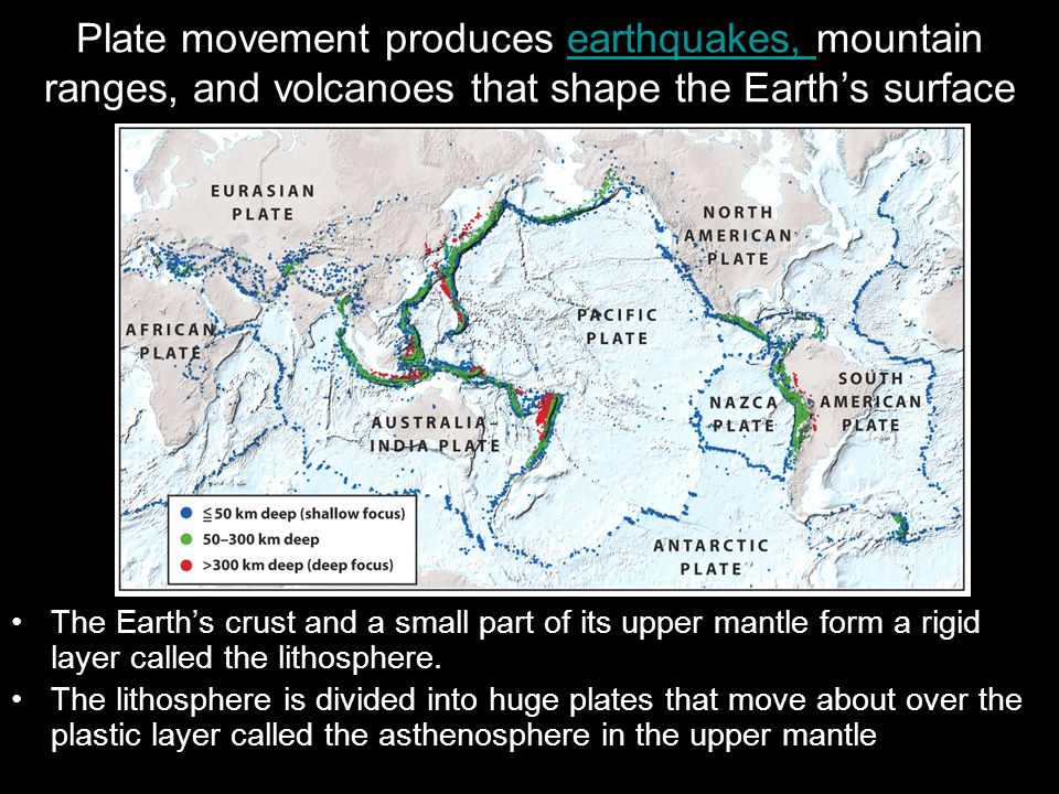 Plate movement produces earthquakes, mountain ranges, and volcanoes that shape the Earth's surfaceearthquakes, The Earth's crust and a small part of its upper mantle form a rigid layer called the lithosphere.