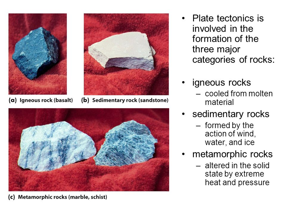 Plate tectonics is involved in the formation of the three major categories of rocks: igneous rocks –cooled from molten material sedimentary rocks –formed by the action of wind, water, and ice metamorphic rocks –altered in the solid state by extreme heat and pressure
