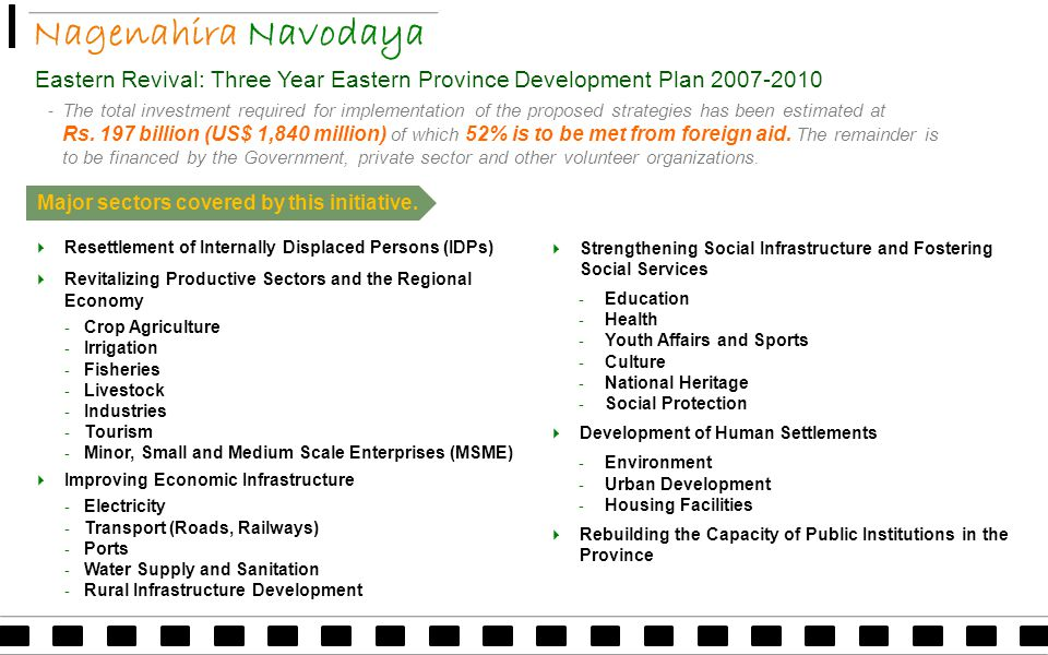 Nagenahira Navodaya Eastern Revival: Three Year Eastern Province Development Plan 2007-2010 ‐ The total investment required for implementation of the proposed strategies has been estimated at Rs.
