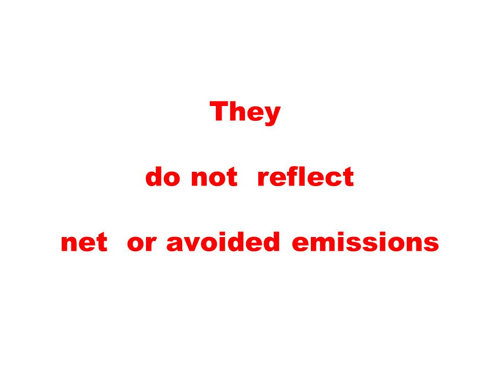They do not reflect net or avoided emissions