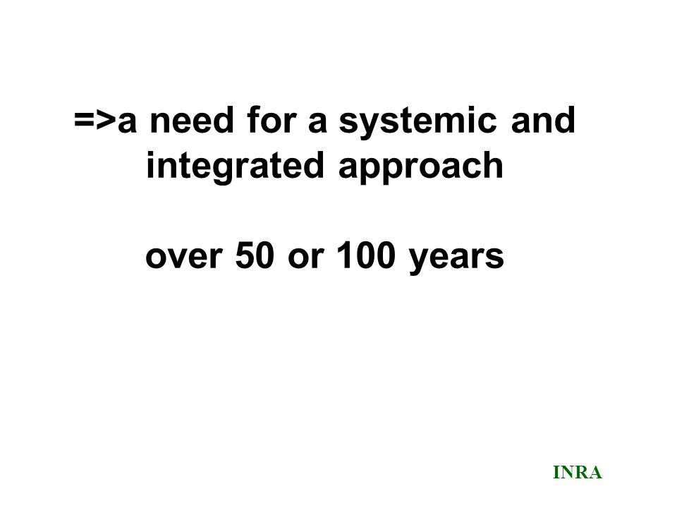 =>a need for a systemic and integrated approach over 50 or 100 years INRA