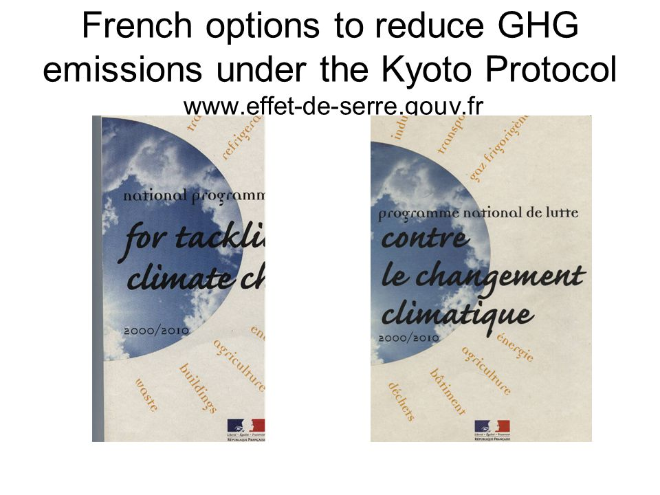 French options to reduce GHG emissions under the Kyoto Protocol www.effet-de-serre.gouv.fr