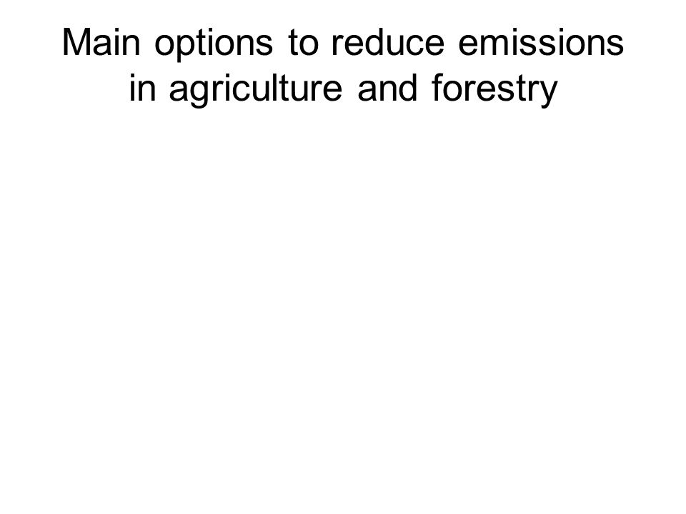 Main options to reduce emissions in agriculture and forestry