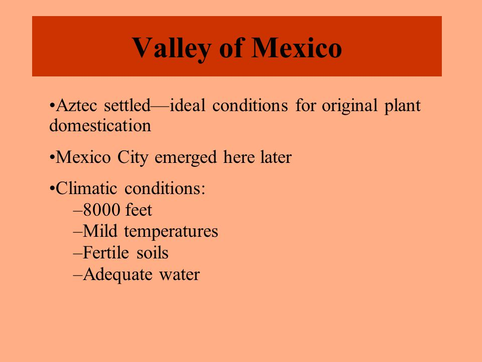 Valley of Mexico Aztec settled—ideal conditions for original plant domestication Mexico City emerged here later Climatic conditions: –8000 feet –Mild