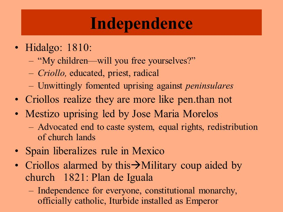 "Independence Hidalgo: 1810: –""My children—will you free yourselves?"" –Criollo, educated, priest, radical –Unwittingly fomented uprising against penins"