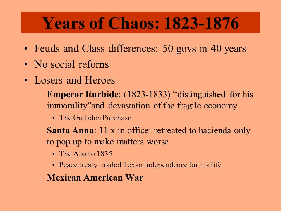 "Years of Chaos: 1823-1876 Feuds and Class differences: 50 govs in 40 years No social reforns Losers and Heroes –Emperor Iturbide: (1823-1833) ""disting"