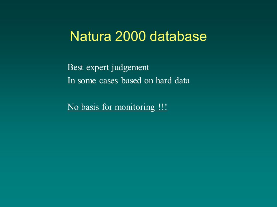 Natura 2000 database Best expert judgement In some cases based on hard data No basis for monitoring !!!