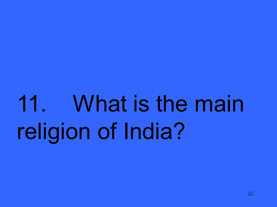 22 11. What is the main religion of India?
