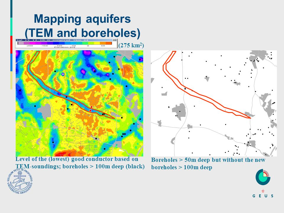 Mapping aquifers (TEM and boreholes) Level of the (lowest) good conductor based on TEM-soundings; boreholes > 100m deep (black) (275 km 2 ) Boreholes > 50m deep but without the new boreholes > 100m deep