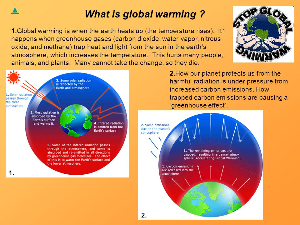 What is global warming . 1.Global warming is when the earth heats up (the temperature rises).