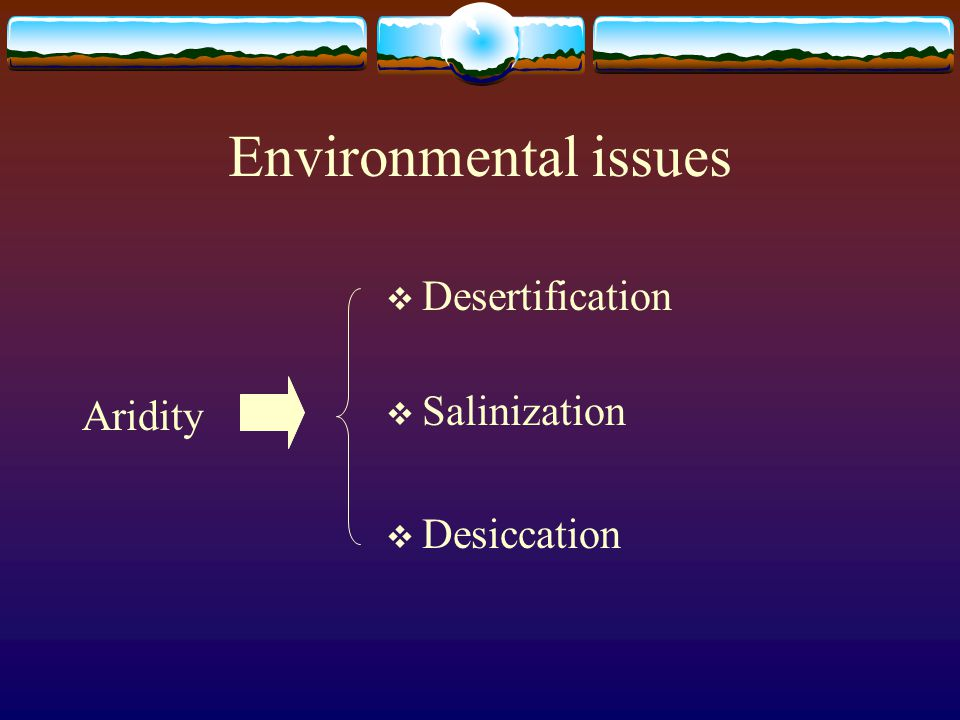 Environmental issues  Desertification  Salinization  Desiccation Aridity
