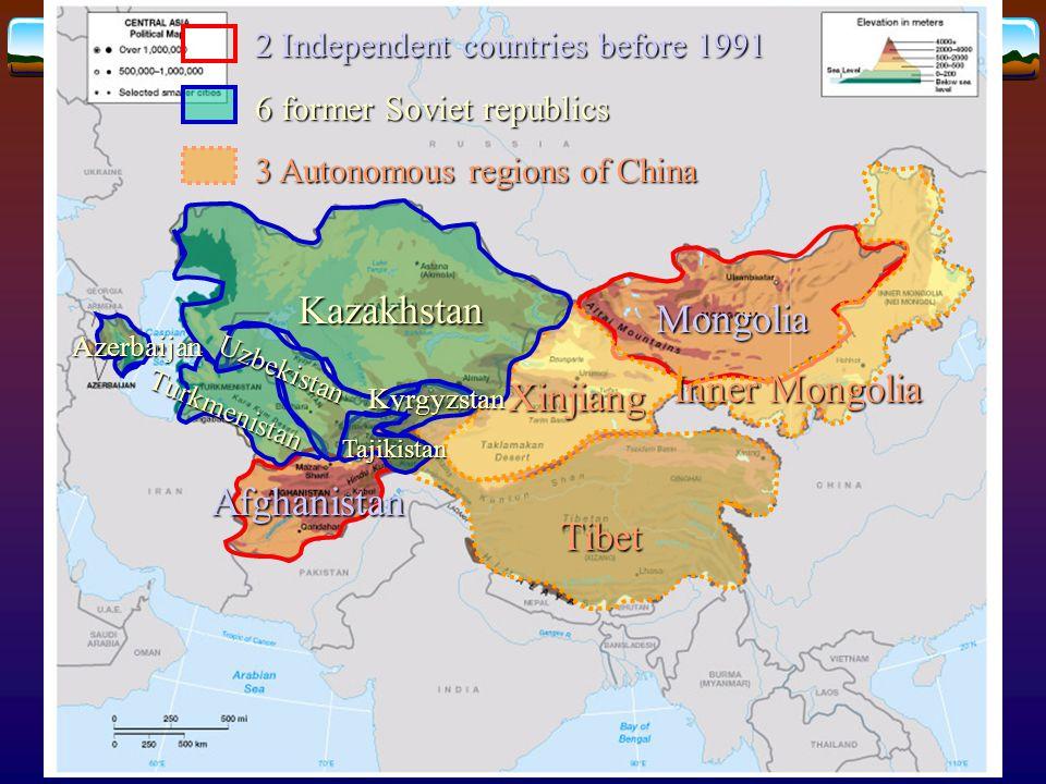 Central Asia under communist rule  Soviet Union (1922)  Union republics  became independent states (1991)  Mongolia (1924)  China (1949)  Autonomous regions