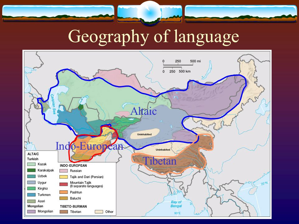 Geography of language Altaic Indo-European Tibetan
