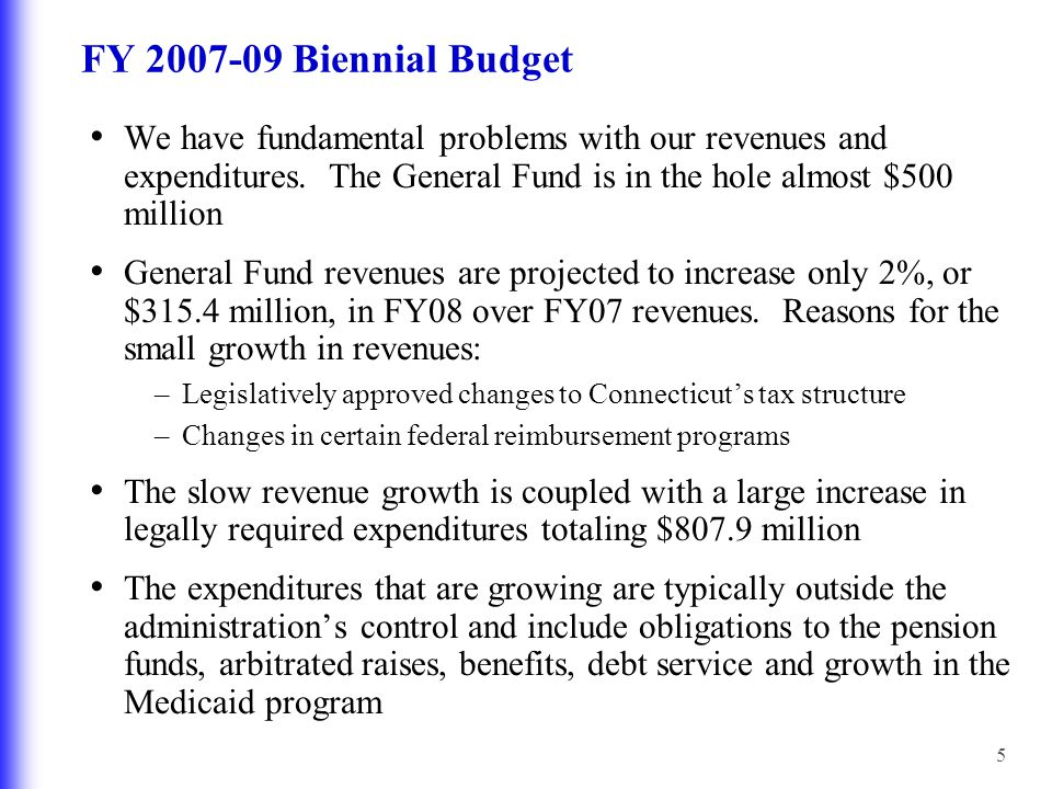 5 FY 2007-09 Biennial Budget We have fundamental problems with our revenues and expenditures.