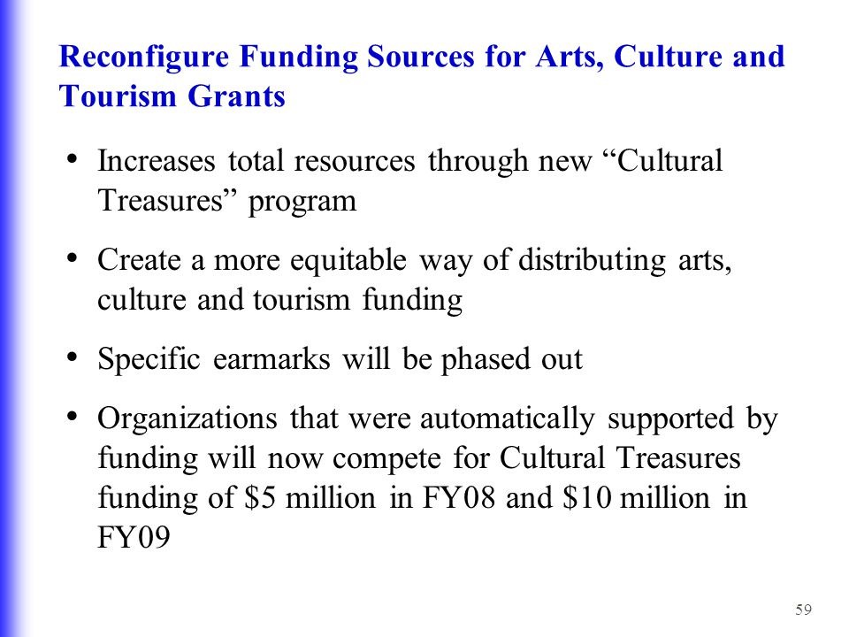 59 Reconfigure Funding Sources for Arts, Culture and Tourism Grants Increases total resources through new Cultural Treasures program Create a more equitable way of distributing arts, culture and tourism funding Specific earmarks will be phased out Organizations that were automatically supported by funding will now compete for Cultural Treasures funding of $5 million in FY08 and $10 million in FY09