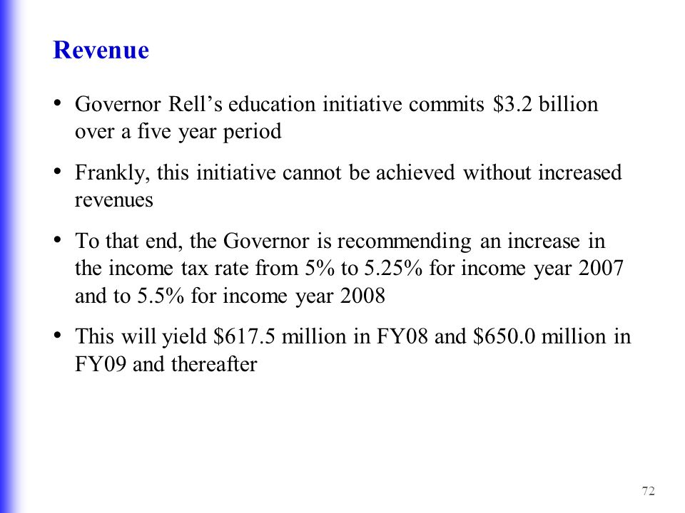 72 Revenue Governor Rell's education initiative commits $3.2 billion over a five year period Frankly, this initiative cannot be achieved without increased revenues To that end, the Governor is recommending an increase in the income tax rate from 5% to 5.25% for income year 2007 and to 5.5% for income year 2008 This will yield $617.5 million in FY08 and $650.0 million in FY09 and thereafter