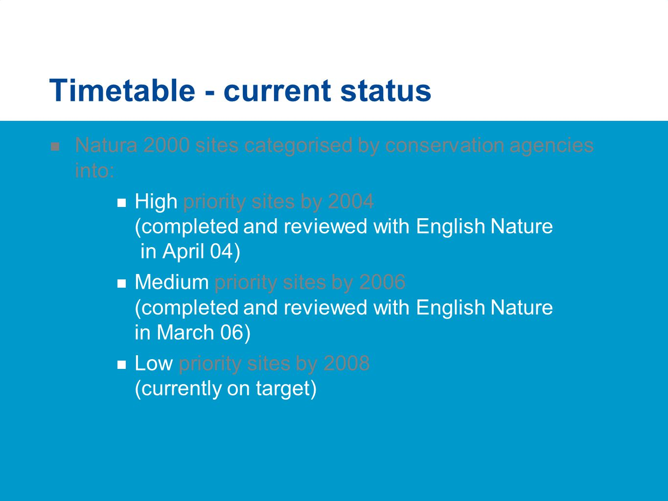 Timetable - current status  Natura 2000 sites categorised by conservation agencies into:  High priority sites by 2004 (completed and reviewed with E