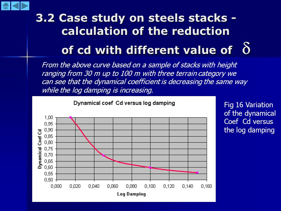 3.2 Case study on steels stacks - calculation of the reduction of cd with different value of  From the above curve based on a sample of stacks with h