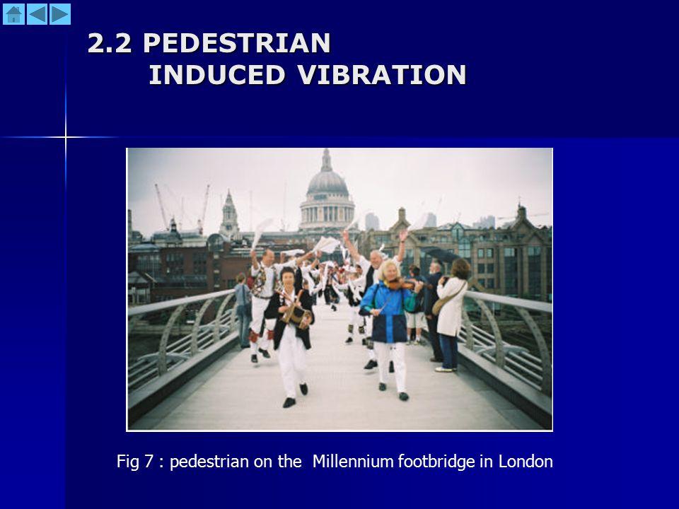 2.2 PEDESTRIAN INDUCED VIBRATION Fig 7 : pedestrian on the Millennium footbridge in London