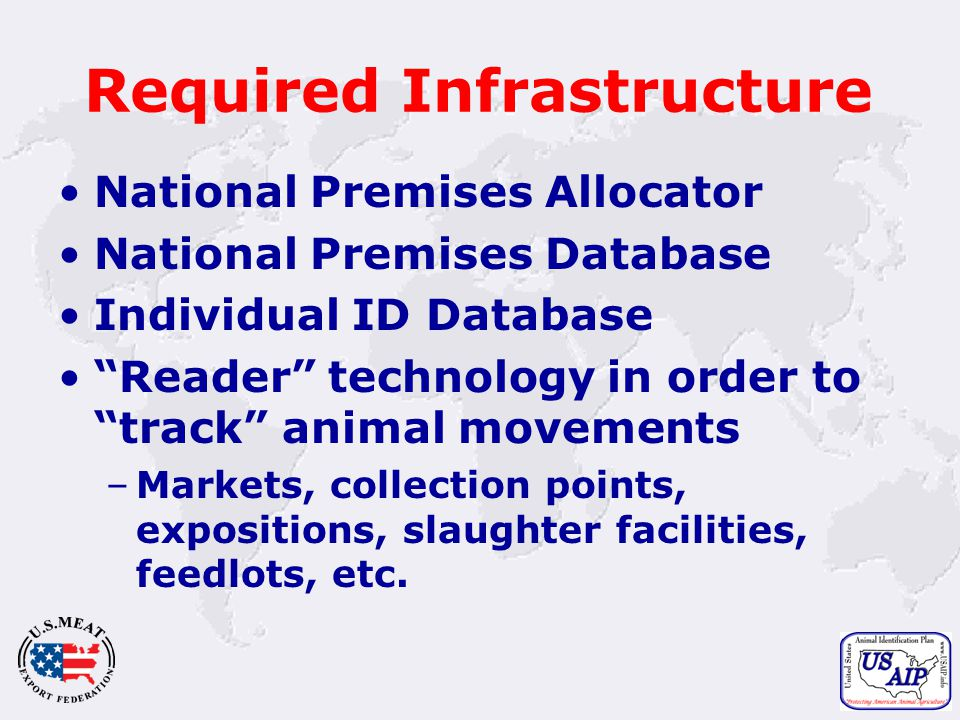 17 Required Infrastructure National Premises Allocator National Premises Database Individual ID Database Reader technology in order to track animal movements –Markets, collection points, expositions, slaughter facilities, feedlots, etc.