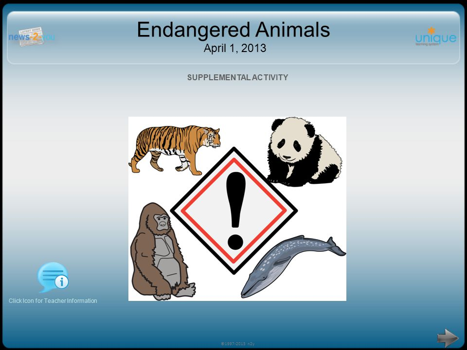 Endangered Animals April 1, 2013 Click Icon for Teacher Information SUPPLEMENTAL ACTIVITY ©1997-2013 n2y