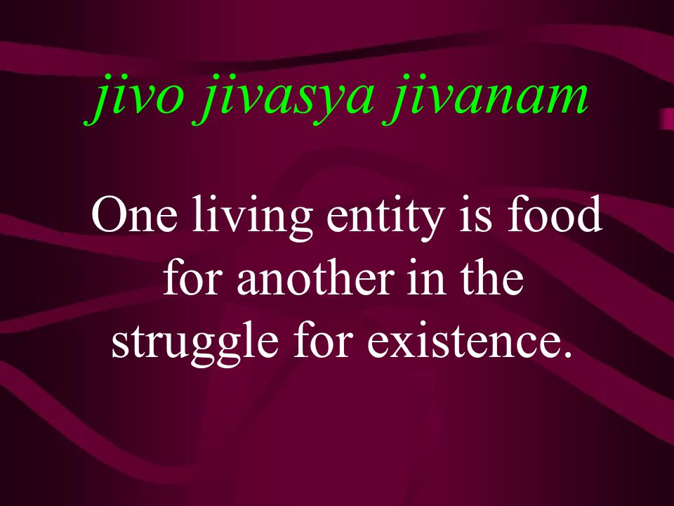 jivo jivasya jivanam One living entity is food for another in the struggle for existence.