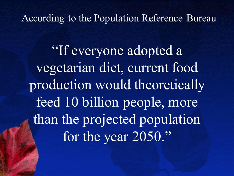 If everyone adopted a vegetarian diet, current food production would theoretically feed 10 billion people, more than the projected population for the year 2050. According to the Population Reference Bureau