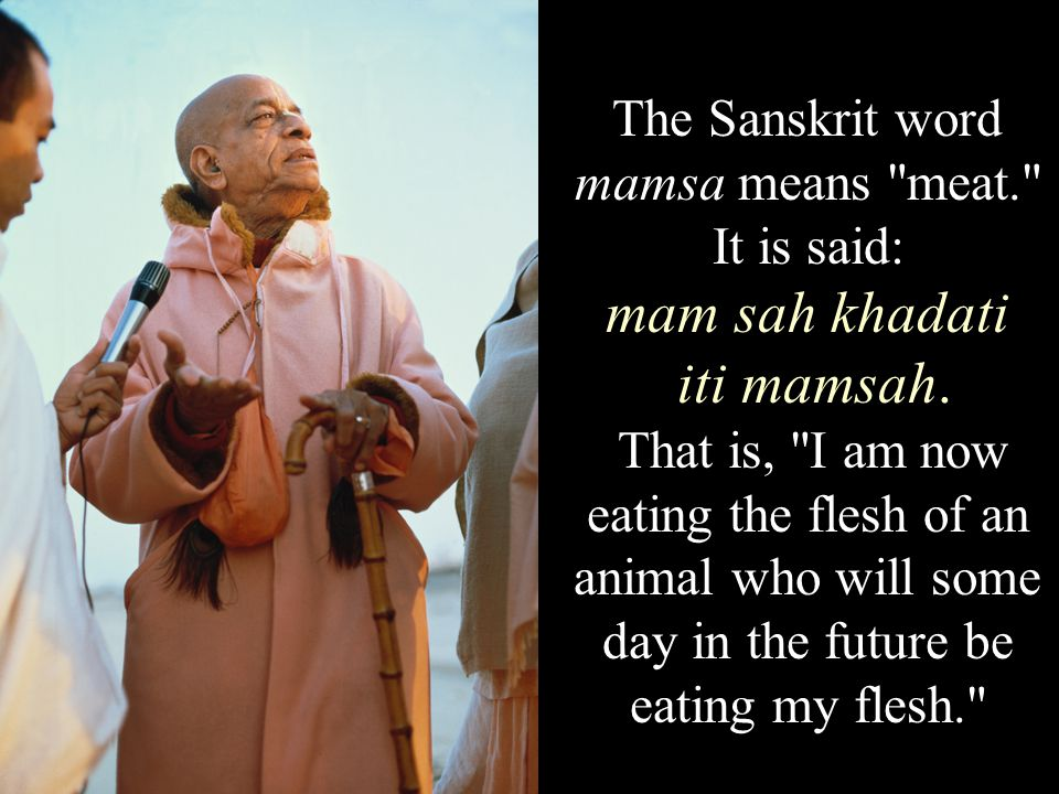 The Sanskrit word mamsa means meat. It is said: mam sah khadati iti mamsah.