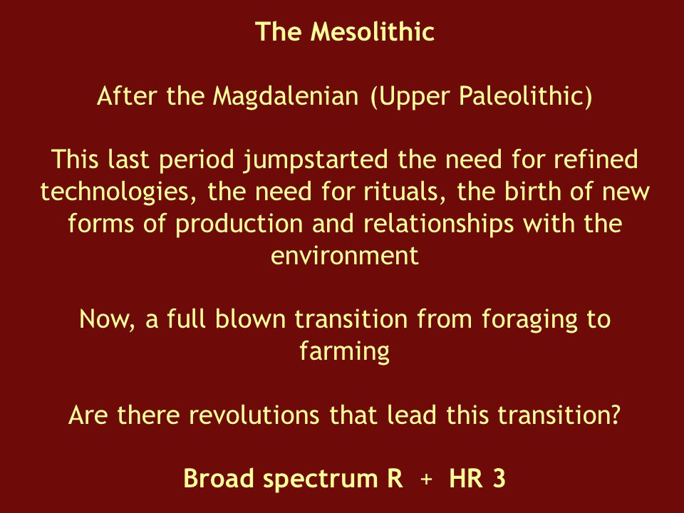 The Mesolithic After the Magdalenian (Upper Paleolithic) This last period jumpstarted the need for refined technologies, the need for rituals, the birth of new forms of production and relationships with the environment Now, a full blown transition from foraging to farming Are there revolutions that lead this transition.
