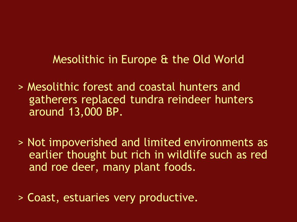 Mesolithic in Europe & the Old World > Mesolithic forest and coastal hunters and gatherers replaced tundra reindeer hunters around 13,000 BP.