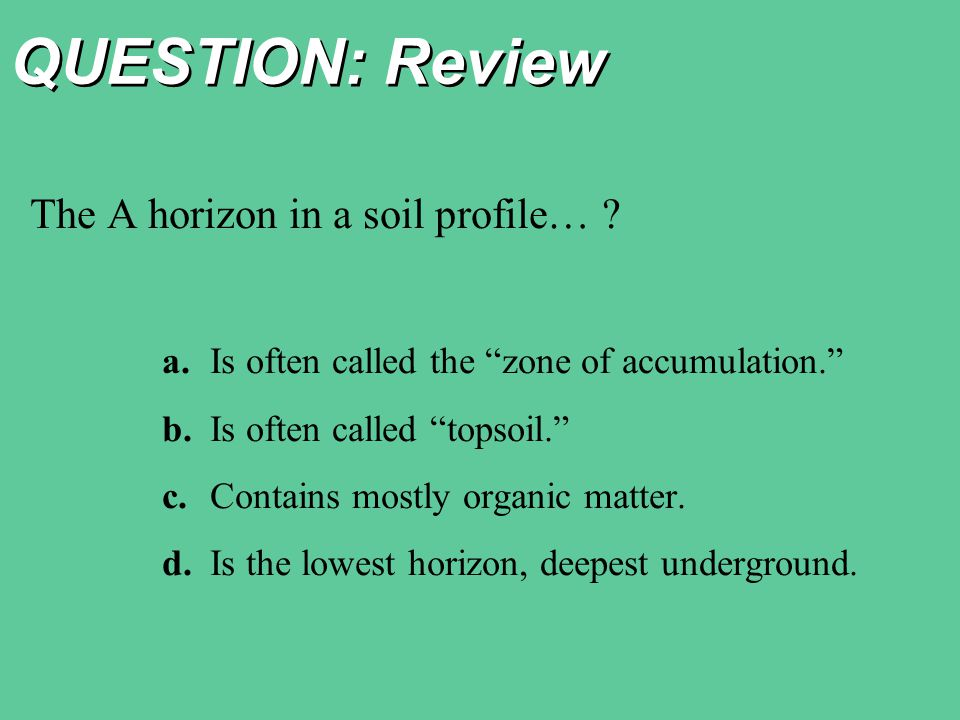 QUESTION: Review The A horizon in a soil profile… .