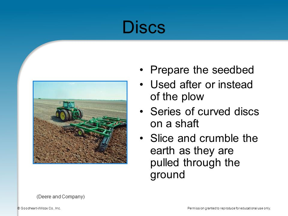 Permission granted to reproduce for educational use only. © Goodheart-Willcox Co., Inc. Discs Prepare the seedbed Used after or instead of the plow Se