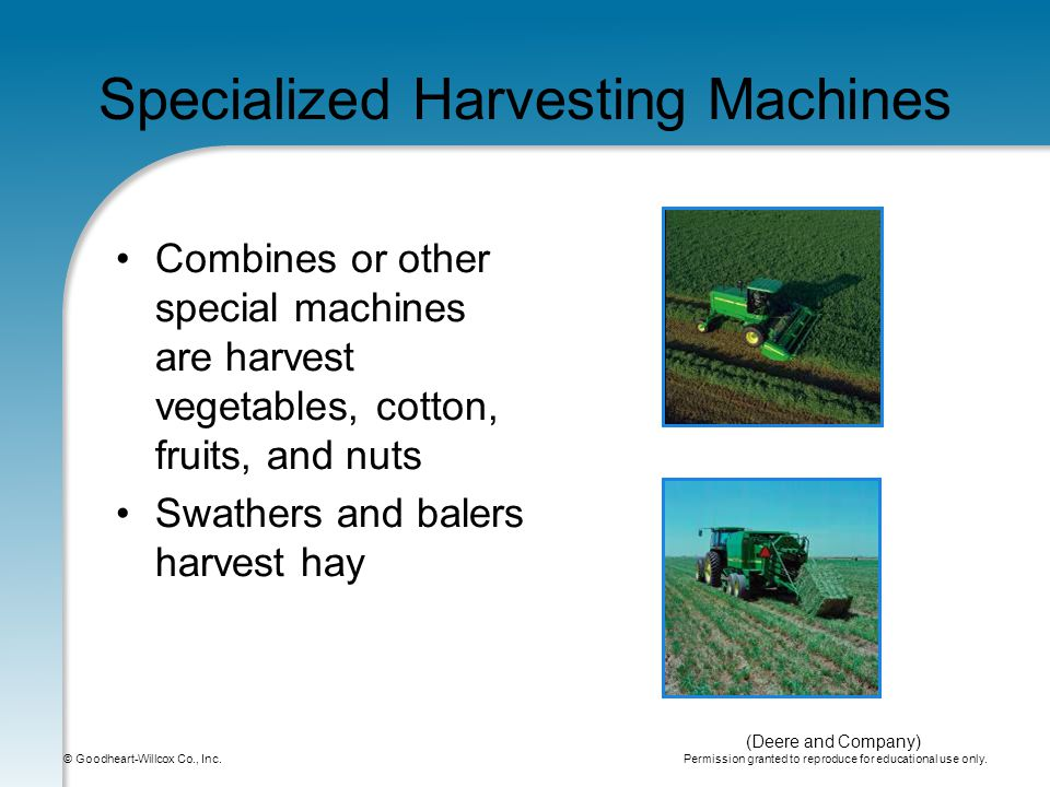 Permission granted to reproduce for educational use only. © Goodheart-Willcox Co., Inc. Specialized Harvesting Machines Combines or other special mach