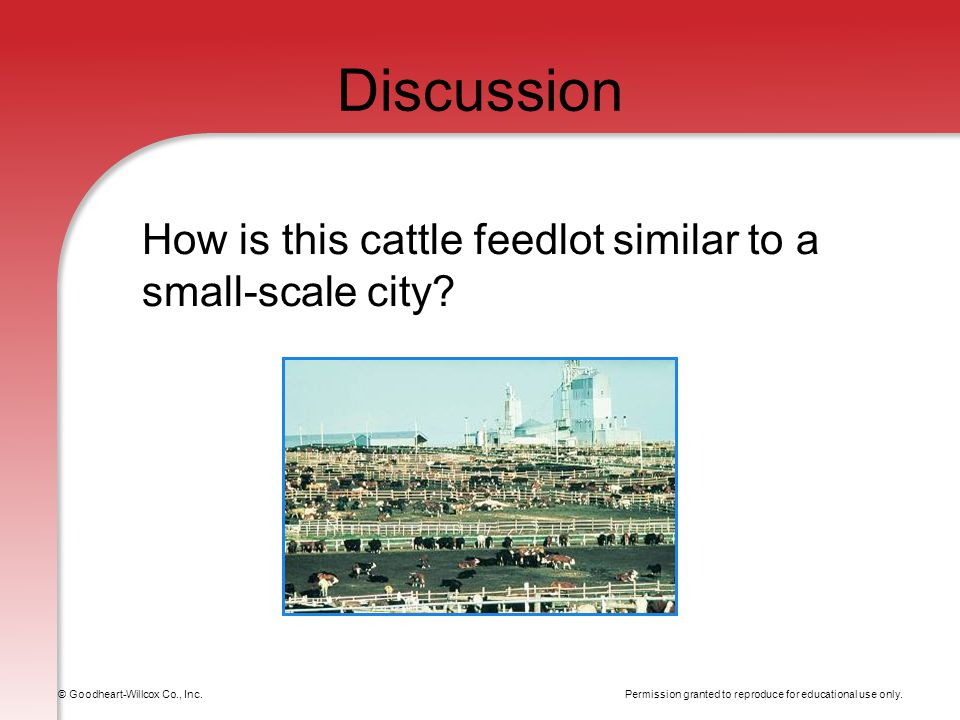 Permission granted to reproduce for educational use only. © Goodheart-Willcox Co., Inc. Discussion How is this cattle feedlot similar to a small-scale