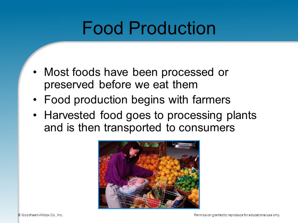 Permission granted to reproduce for educational use only. © Goodheart-Willcox Co., Inc. Food Production Most foods have been processed or preserved be