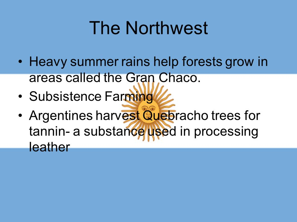 The Northwest Heavy summer rains help forests grow in areas called the Gran Chaco. Subsistence Farming Argentines harvest Quebracho trees for tannin-