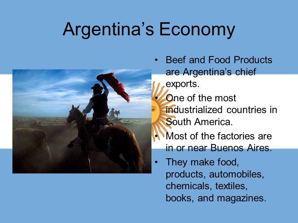 Argentina's Economy Beef and Food Products are Argentina's chief exports. One of the most industrialized countries in South America. Most of the facto
