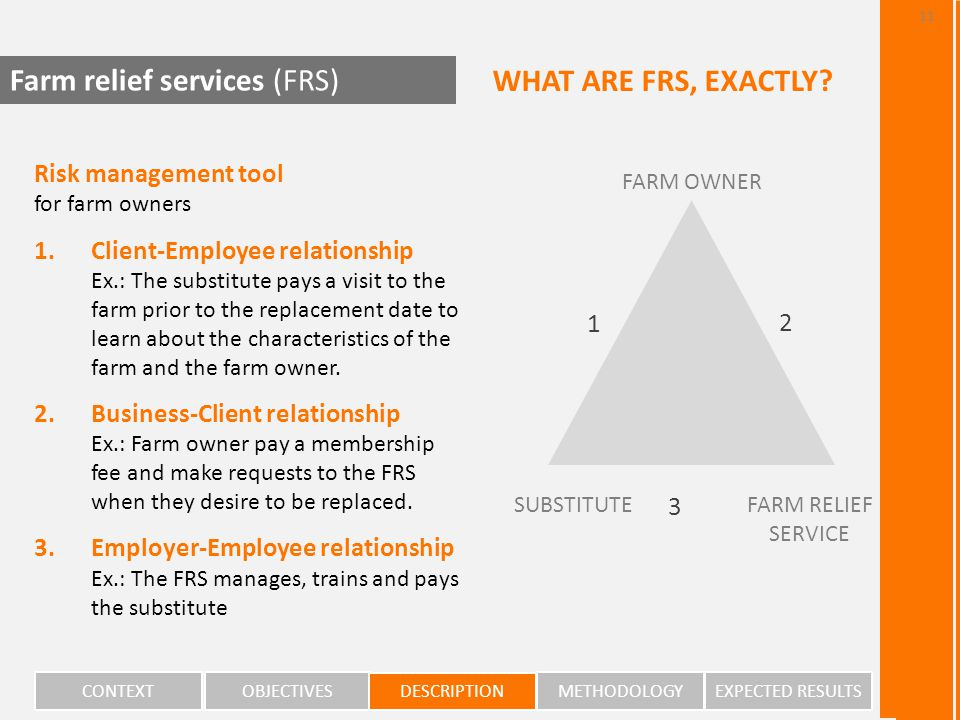 2 FARM OWNER FARM RELIEF SERVICE SUBSTITUTE 1 3 Risk management tool for farm owners 1.Client-Employee relationship Ex.: The substitute pays a visit to the farm prior to the replacement date to learn about the characteristics of the farm and the farm owner.