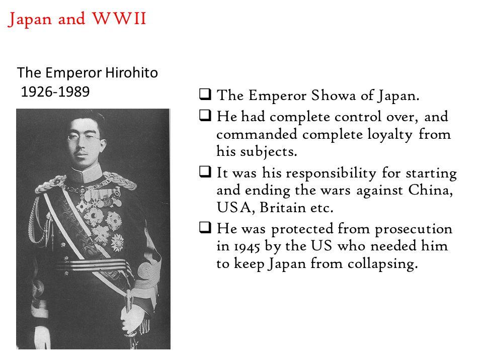 The Emperor Hirohito 1926-1989  The Emperor Showa of Japan.