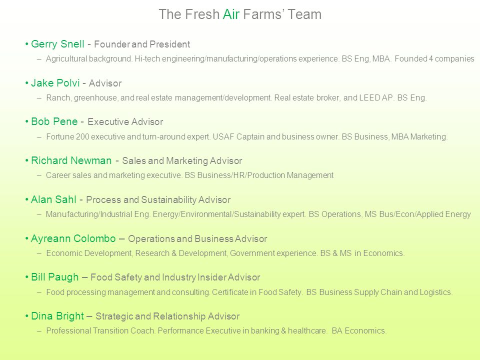 Fresh Air Farms' Activities Desire to grow local, healthy food is bornSummer2000 Founder dedicates full-time effortSeptember2012 Company name establishedNovember2012 Relationships with target customers begunDecember2012 Advisory Board establishedFebruary2013 Website establishedApril2013 Site selection startsMay2013 Marketing material developedMay 2013 Business Plan completeJune2013 Relationships with industry experts initiatedJuly2013 Relationships with key suppliers begunJuly2013 Marketing material developedJune2013 Legal firm selectedJuly2013 Bank account openedJuly2013 Company incorporated August2013 Lobbyist hiredAugust2013 CPA firm selectedAugust2013 Press releaseAugust2013