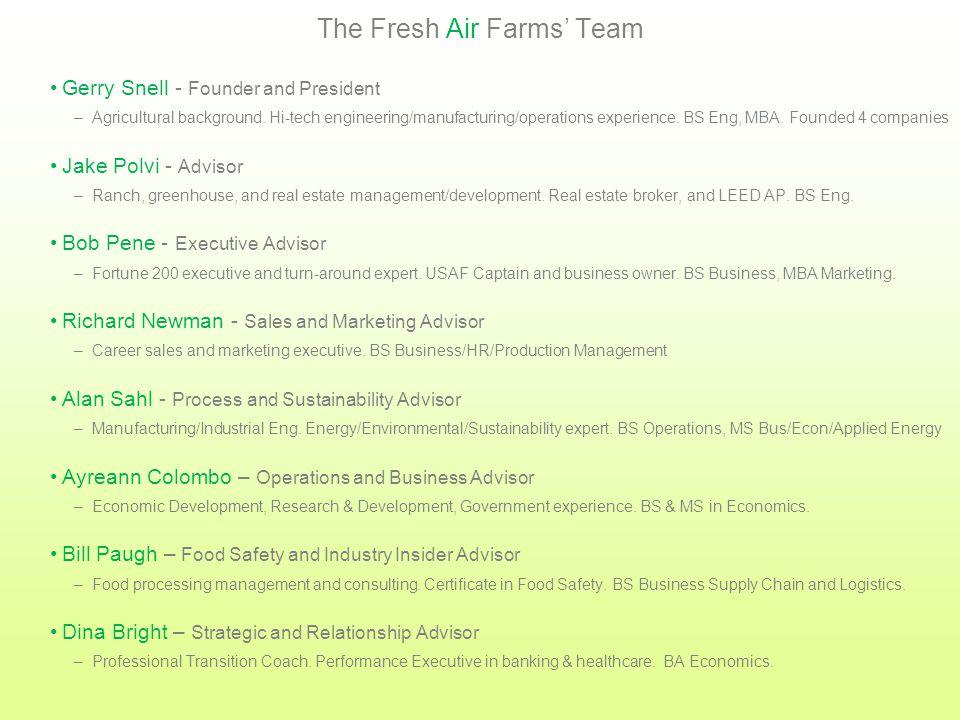 Fresh Air Farms' Activities Desire to grow local, healthy food is bornSummer2000 Founder dedicates full-time effortSeptember2012 Company name establis
