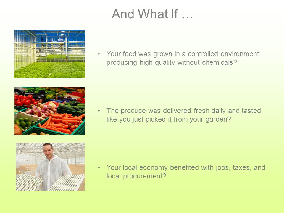 What If … Your food was grown in a food-safety-certified facility and you knew your produce was safe.