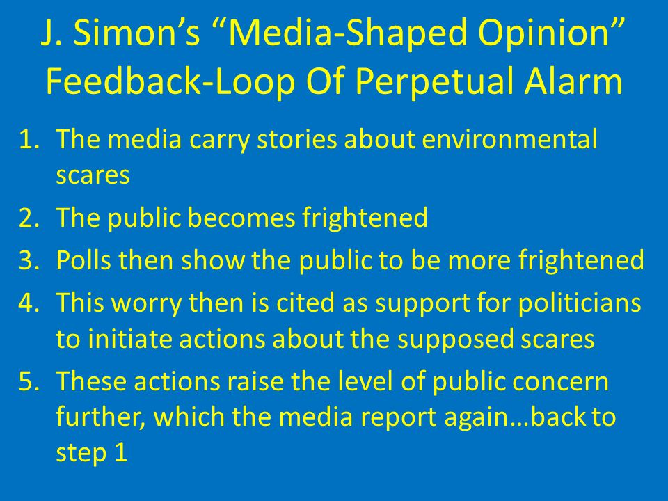 "J. Simon's ""Media-Shaped Opinion"" Feedback-Loop Of Perpetual Alarm 1.The media carry stories about environmental scares 2.The public becomes frightene"