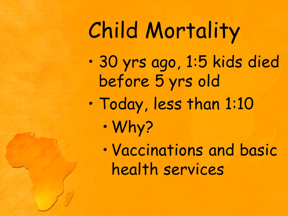 Child Mortality 30 yrs ago, 1:5 kids died before 5 yrs old Today, less than 1:10 Why.