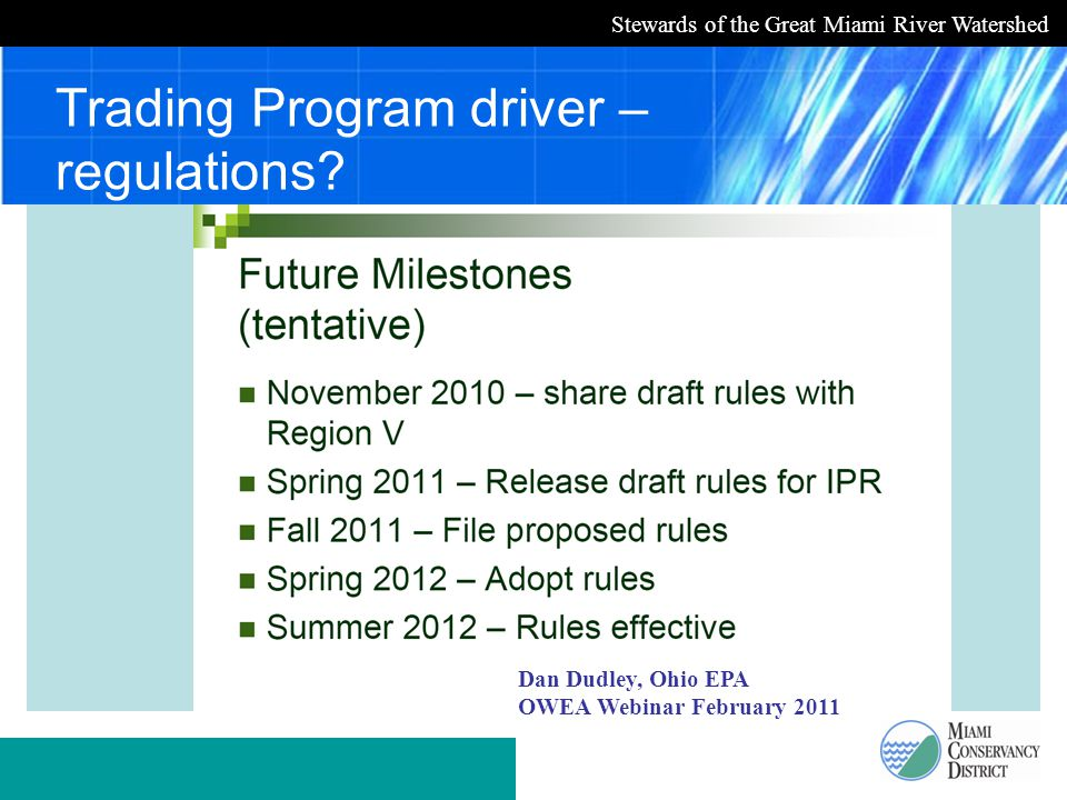 Stewards of the Great Miami River Watershed Trading Program driver – regulations.