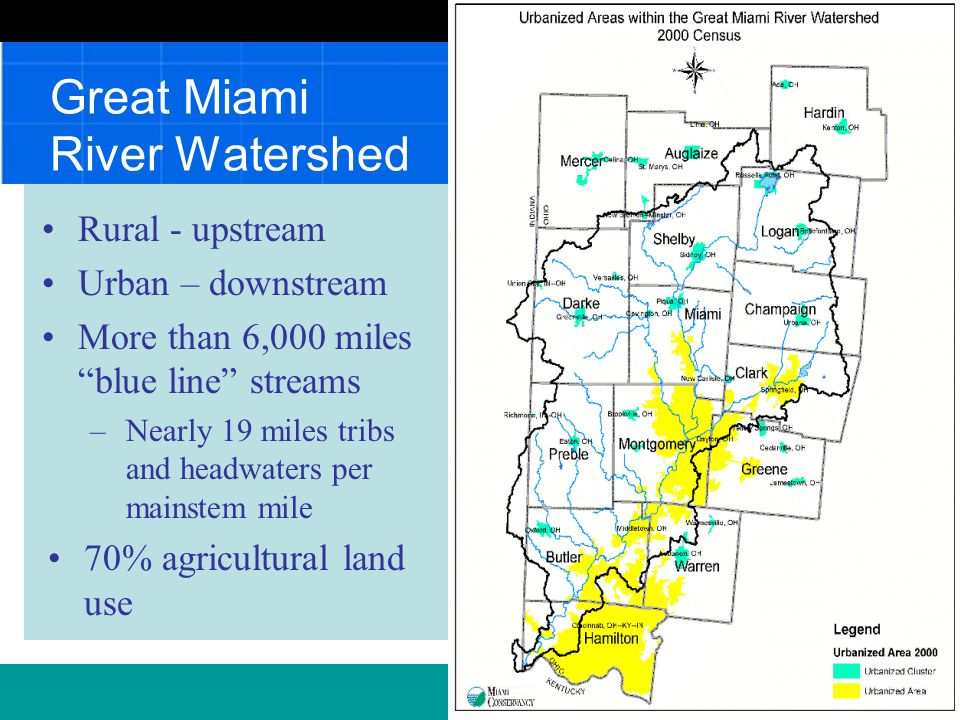 Stewards of the Great Miami River Watershed Ohio's Great Corridor Vibrant city waterfronts …land & water trails… picturesque farmland… exquisite natural areas. Annual River Summit