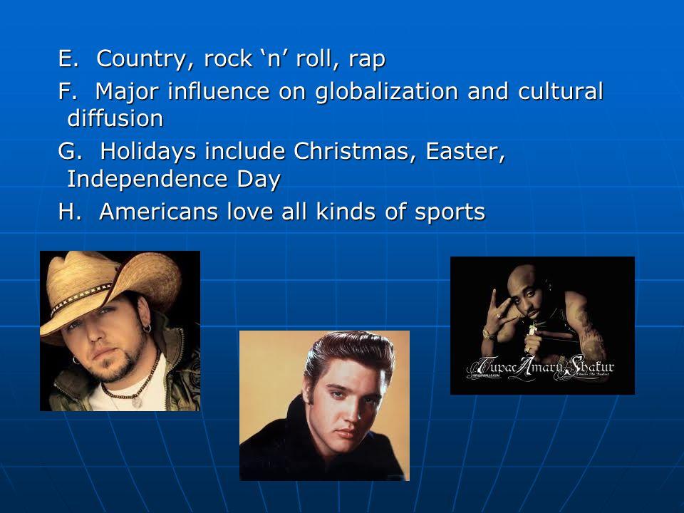 E. Country, rock 'n' roll, rap E. Country, rock 'n' roll, rap F.